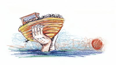 Drawing by Francesco Piobbichi, staff, Mediterranean Hope programme, Federation of Protestant Churches in Italy (FCEI)